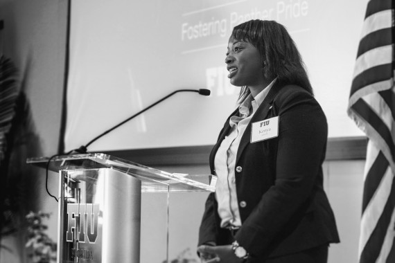 Kenya Adeola at a Fostering Panther Pride event