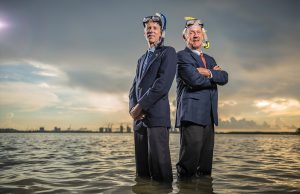 FIU biology professor Phil Stoddard (left) and University of Miami geologist Harold Wanless (right) are recognized by Politico Magazine's Politico 50 list for their commitment to educating the public on sea level rise. Photo by Josh Ritchie for Politico Magazine.