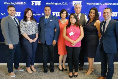 The FIU in D.C. team meets with employer partners (Left to right: Ethan Starkey, Kelsey Lagus, Jimmy Ortiz, Cynthia Turner, Cruz Pardo, Grover Chamberlain, Larissa Ramos, and Carlos Becerra)