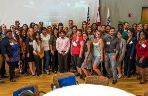 Former foster care and homeless students at FIU gathered with community supporters and administrators for the Fostering Panther Pride welcome breakfast.
