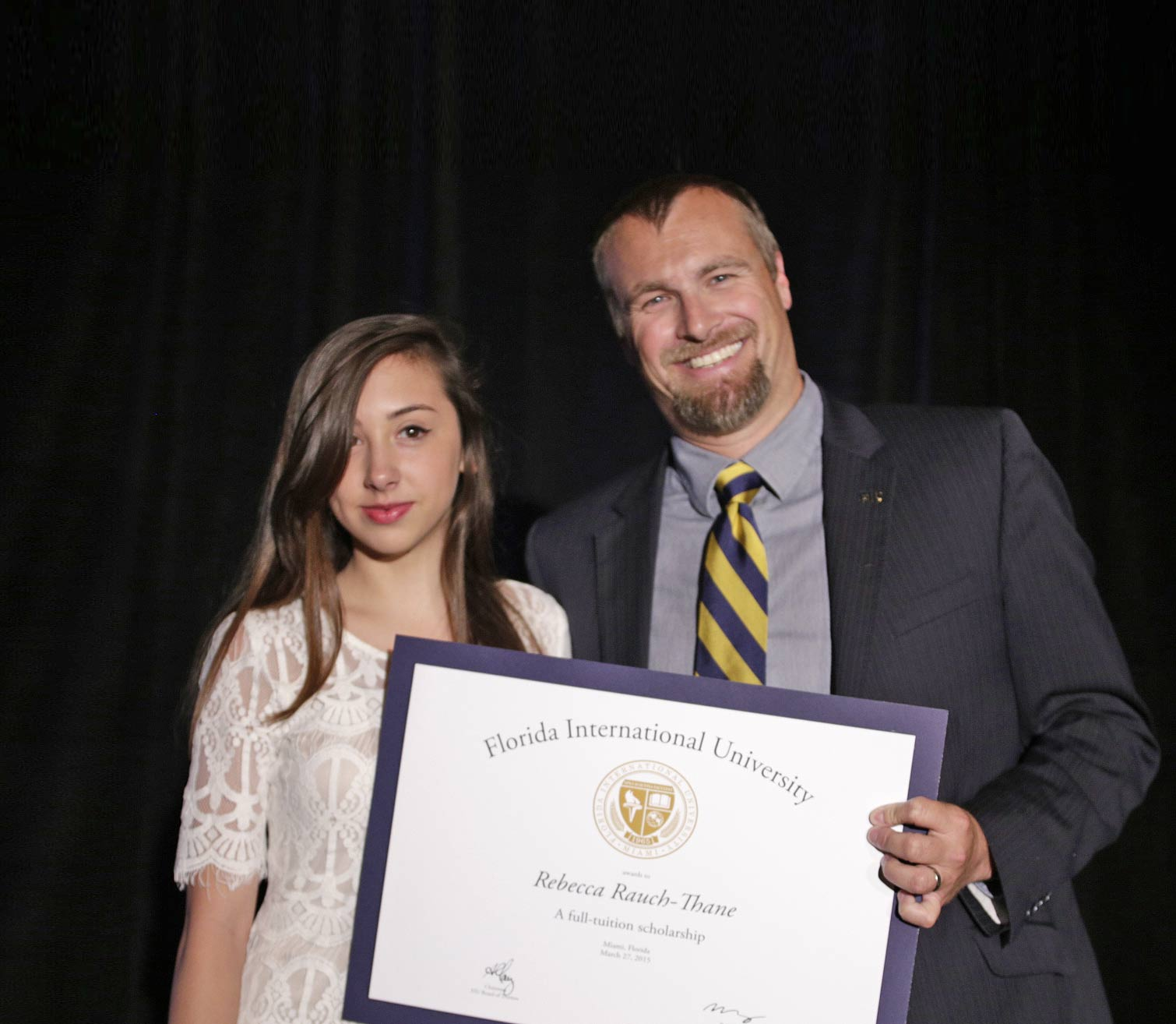 Miami Beach Senior High School freshman Rebecca Rauch-Thane was awarded a scholarship to FIU during the Miami Beach Community Resiliency Summit in March.