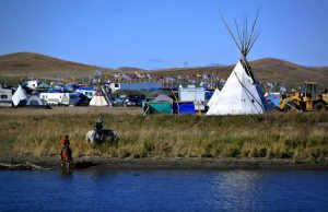 Members of more than 300 Native American tribes are camped at the pipeline site in opposition to the project, creating the largest gathering of Native Tribes in the past 100 years.