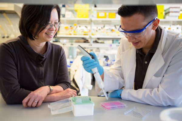 Yuk-Ching Tse-Dinh, director of FIU's Biomolecular Sciences Institute works with a student in her lab.