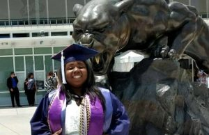 Constance Lee, who graduated this summer, is the first recipient of the Rebecca Salokar Scholarship and will enter the College of Law in the fall.