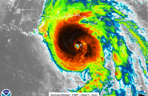 Hurricane Michael approaches the Florida Panhandle. Courtesy: NOAA