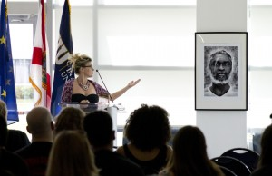 Czech photographer Hana Jakrlova speaks about one of the photos she captured for her La Otra Cuba exhibition, which is on display until May 31 at the Steven J. Green School of International and Public Affairs.