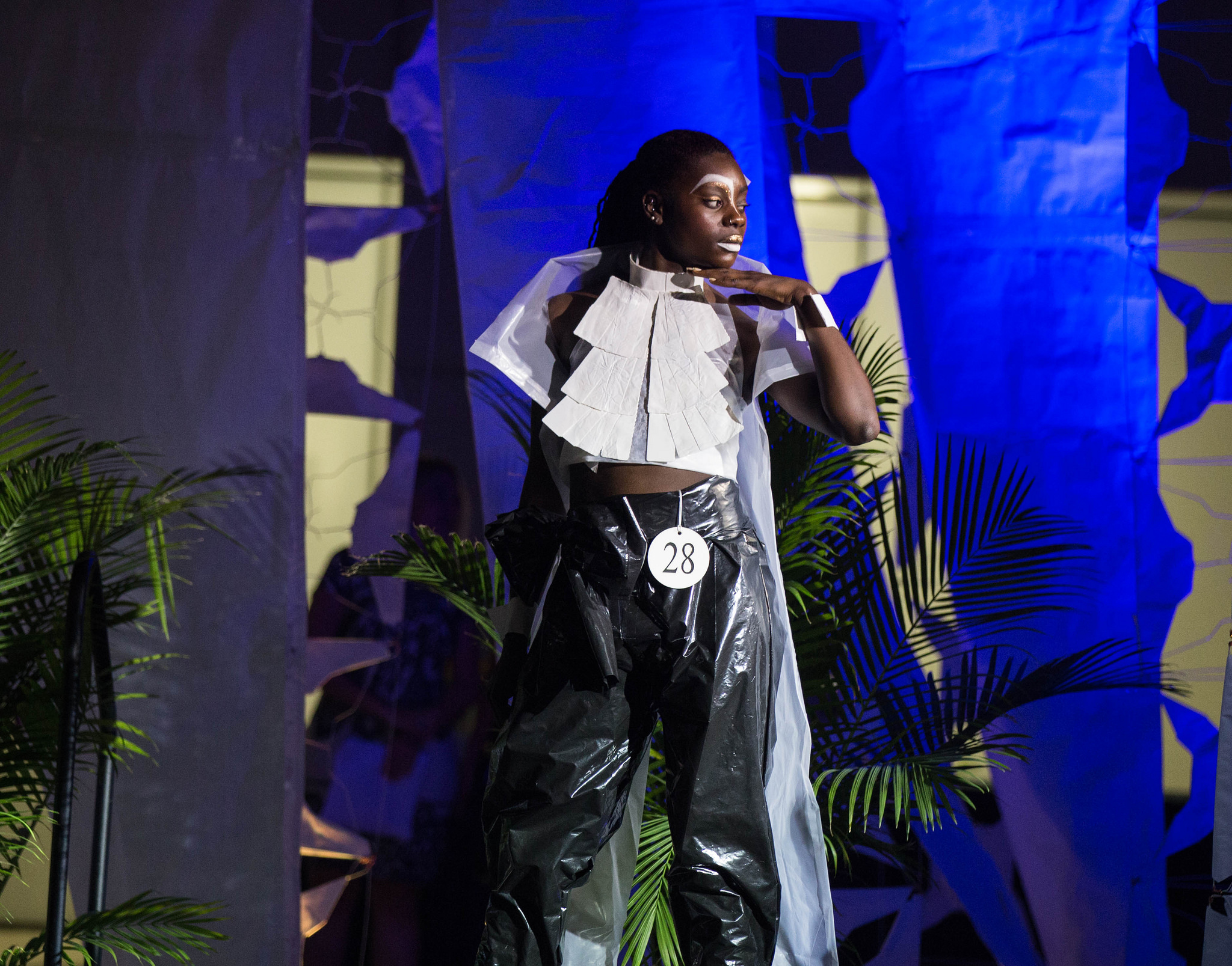 Architecture graduate student Danyealah Green-Lemons models the winning outfit design at the third annual Eco Couture Fashion Show March 31.