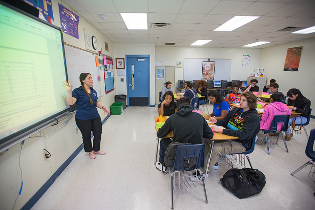 FIUteach student Natasha Blanch teaches high school math