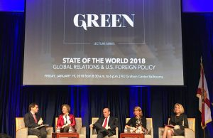 Peter Baker, Anne-Marie Slaughter, Elliot Abrams, Paula Dobriansky and Karen Donfried kick off the first panel of the State of the World 2018 conference.