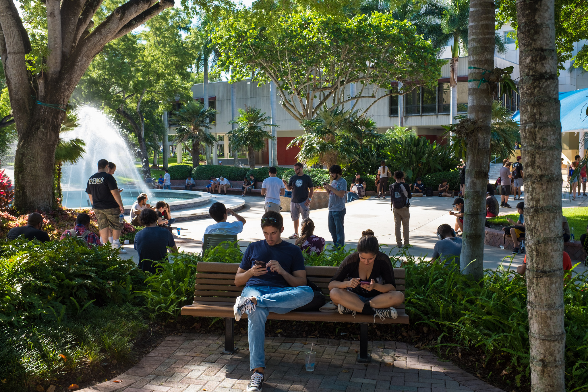 FIU students gather regularly at the fountain outside of the Graham Center to catch Pokémon.