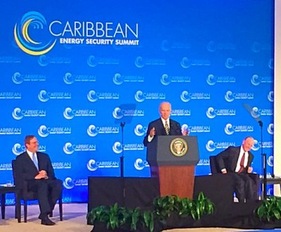 Vice President Joe Biden delivering the inaugural address at the Caribbean Energy Security Summit,