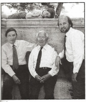 Four generations: Young Daniel, resting on the ledge, with his grandfather (Agustin), great-grandfather (Agustin W.) and father (Daniel) in 1993, when all three men were physicians at Jackson Memorial Hospital. Young Daniel recently graduated from FIU's medical school.