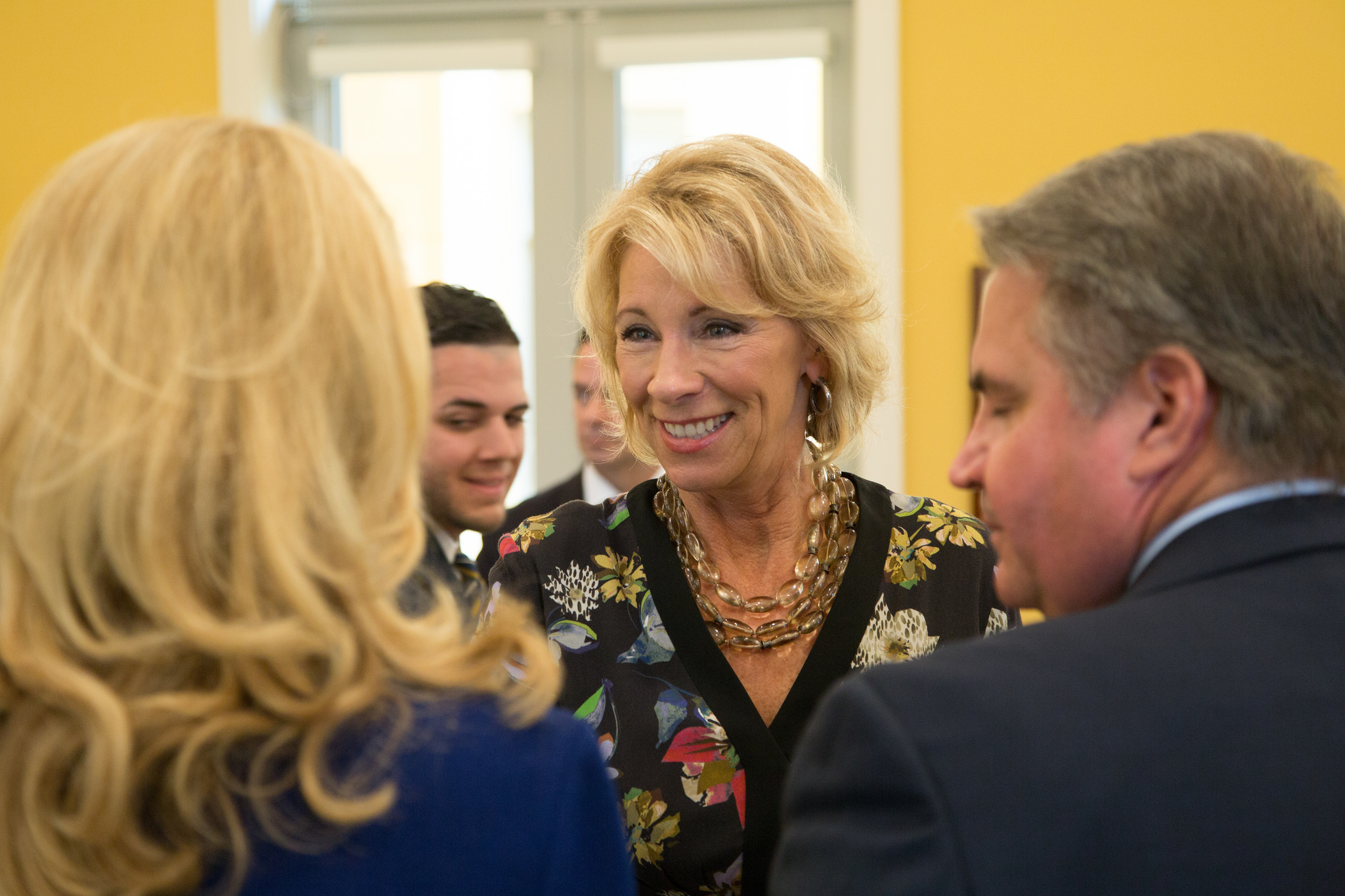 U.S. Secretary of Education Betsy DeVos met with university leaders during her visit to FIU on April 6.