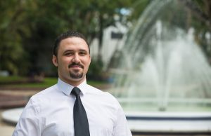 Randy Matos, doctoral electrical engineering student, at FIU's Modesto Maidique campus.