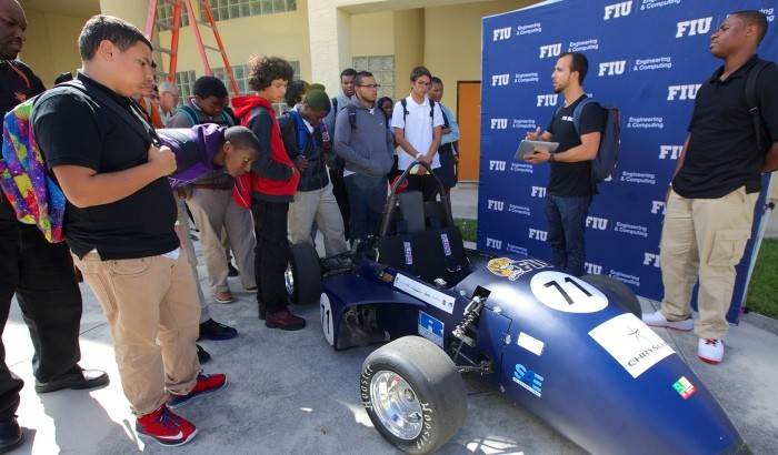 FIU's College of Engineering and Computing launched the Engineers on Wheels initiative at Booker T. Washington Senior High School this week.