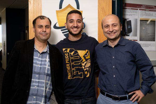 Selcuk Uluagac, assistant professor; David Gabay; and Kemal Akkaya, professor at FIU's Cyber-Physical Systems Security Lab.