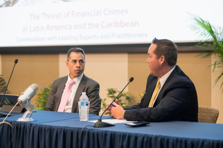 Kenneth Blanco from U.S. Department of the Treasury and Brian Fonseca, director of the Jack D. Gordon Institute for Public Policy at FIU