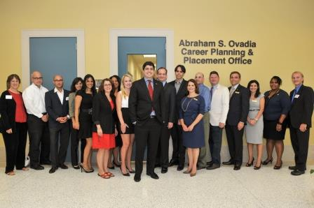 FIU College of Law alumnus Abraham S. Ovadia, Esq., joined by his wife and College of Law faculty and administrators
