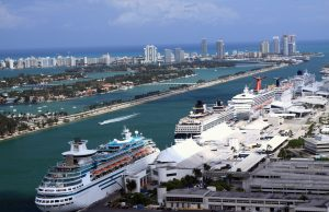 Cruise ships docked at PortMiami.