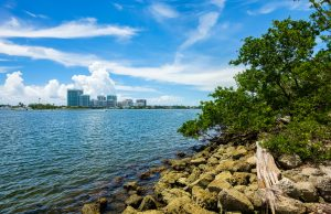Scenic bay view from Oleta River State Park in North Miami Beach.