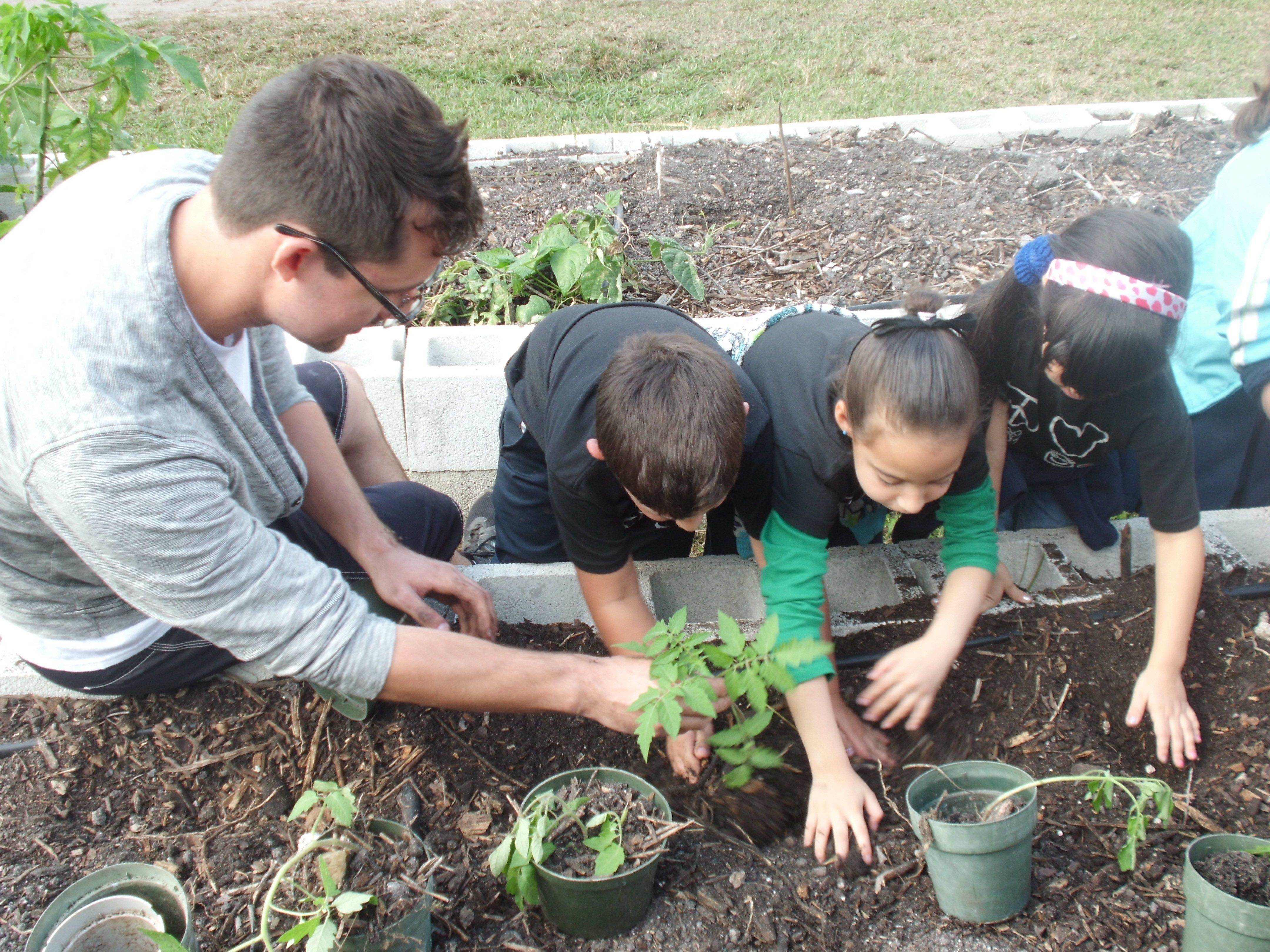 Kindergarteners learn about food systems at FIU's Organic Garden
