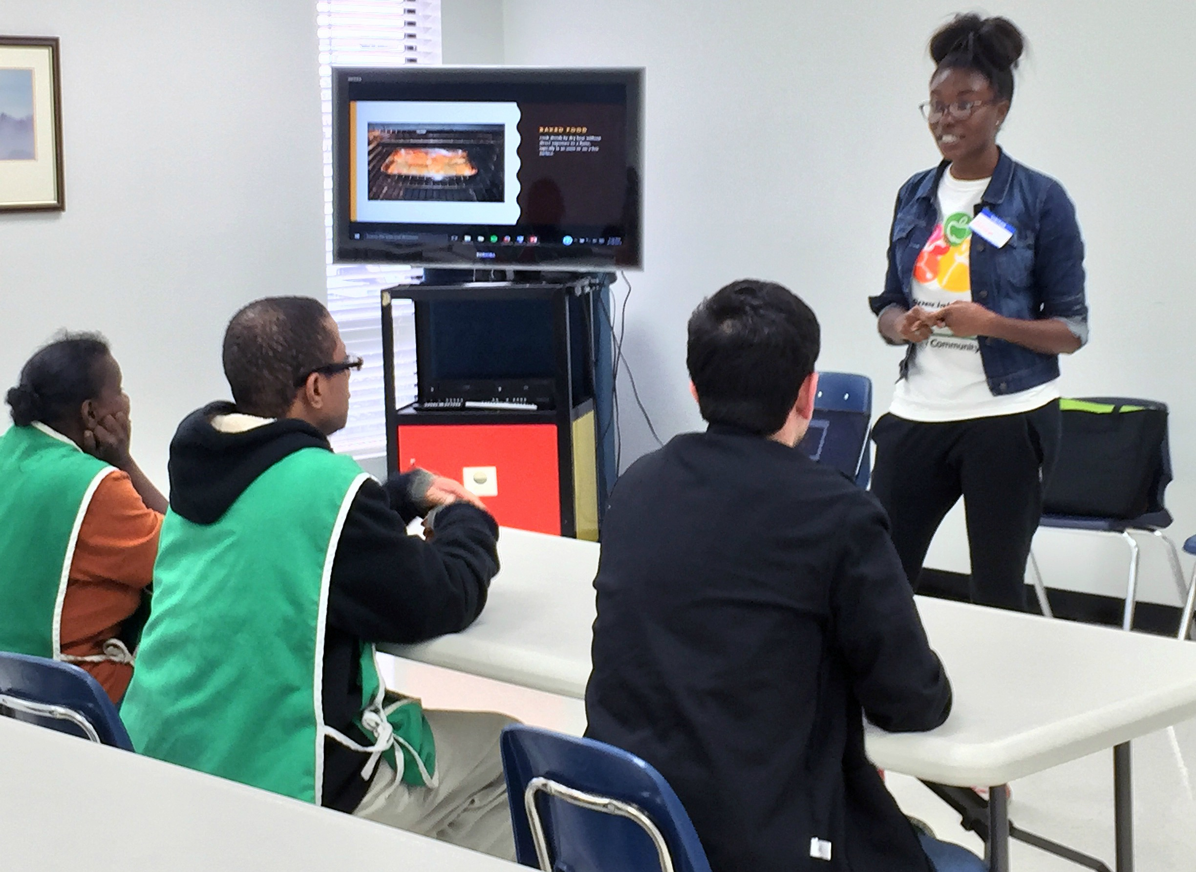 Alisha Cox teaches one of her Health and Nutrition classes at Broward Goodwill for Special Olympics Healthy Community