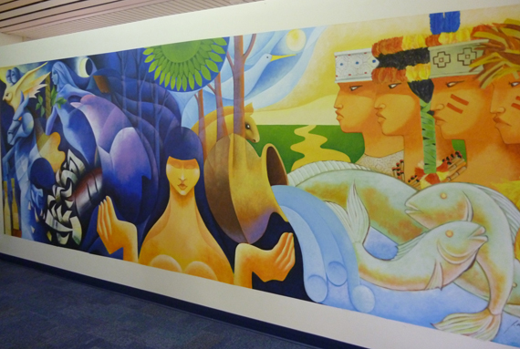 """Amazonia"" mural in the Hubert Library at BBC."