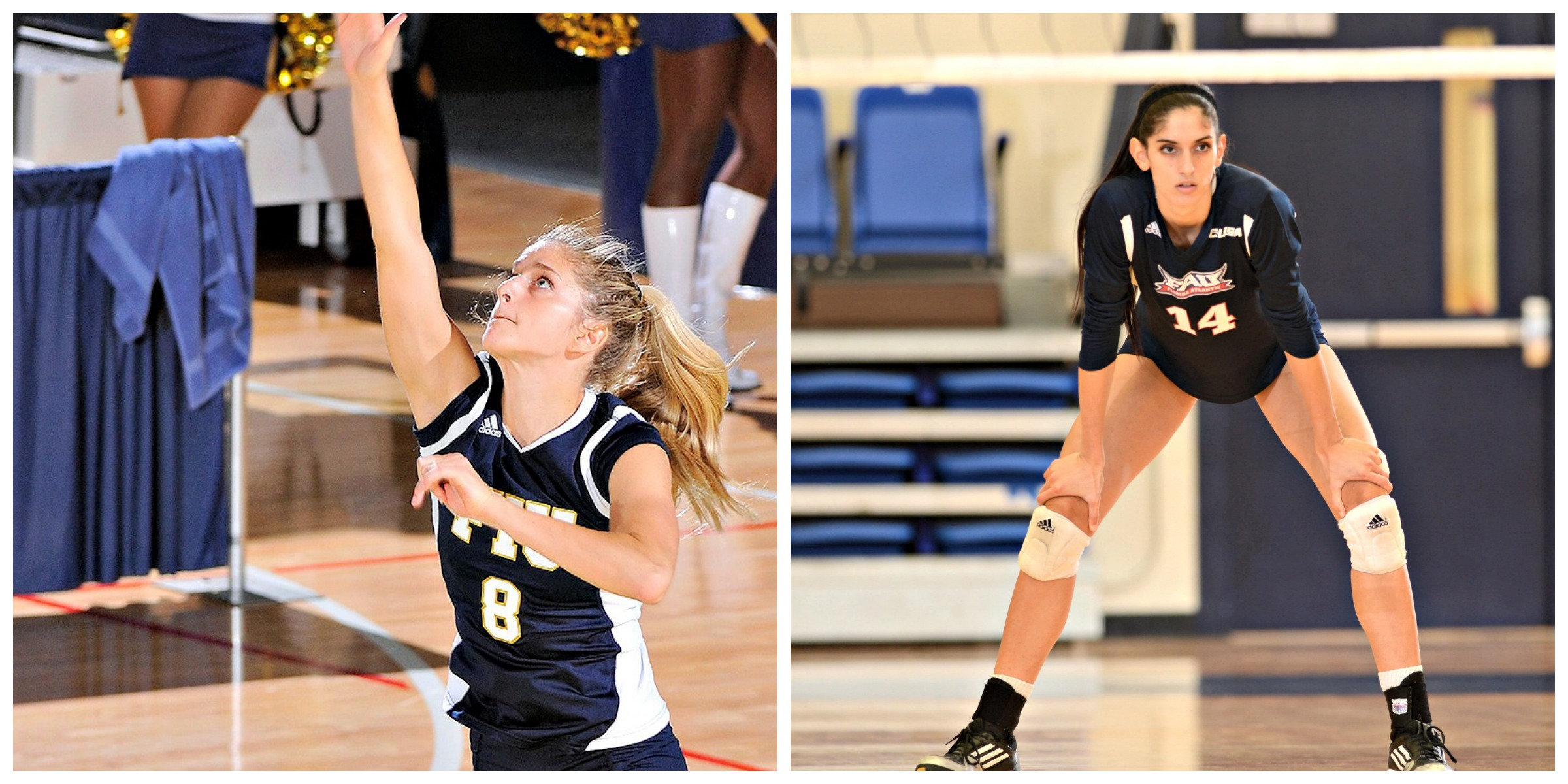Volleyball sisters on opposite sides of court in FIU vs. Florida Atlantic match