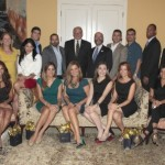 Attending a special reception for FIU's Emmy honorees were, from left, back row: FIU Alumni Association President Jack Gonzalez '97, Senior Vice President of External Relations Sandy Gonzalez-Levy; Rebecca Medina '01, former WFTS Tampa reporter; Gio Benitez '08, WFOR reporter; Jorge Vivar '05, Channel 23 editor; FIU President Mark B. Rosenberg; School of Journalism and Mass Communication Dean Raul Reis; David Gonzalez, Channel 23 photojournalist; Fabian Perez-Crespo '92, TV Marti; Alumni Association Interim Executive Director Duane Wiles; Ray Darnott '08, promotions at Channel 23. Bottom Row: External Relations Vice President Terry Witherell; Kandra Velez '07, WPBT Channel 2 producer; Gloria Ordaz, Channel 23 anchor; Sandra Peebles '89, Channel 23 anchor/reporter, Teri Arvesu-Gonzalez '99, Channel 23 executive producer; Dianne Fernandez '94, former WSVN 7 reporter; Patricia Donoso '05, Miami HEAT producer/editor; Katherine Carballo '07, Miami HEAT producer/editor. Photo: Roldan Torres '85.