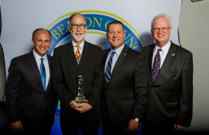 From left to right: Ernie Diaz, regional president for TD Bank in Florida; William E. Pelham Jr., director of CCF, Nelson Lazo, CEO of Doctors Hospital; Larry K. Williams, president and CEO of the Beacon Council.