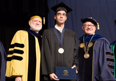 From left to right: FIU Provost and Executive Vice President Douglas Wartzok, Nadav Ben-Yehuda, and FIU President Mark B. Rosenberg