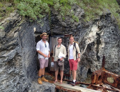 Left to right: Mark Outerbridge (Department of Conservation, Bermuda), Sean Giery and James Stroud pose in Nonsuch Island, one of Bermuda's premier protected areas that supports the Bermuda skink.