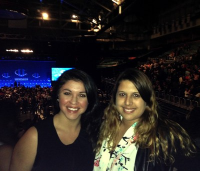 FIU students Francesca Bacarossi (left) and  Christina Retana (right) attended the Clinton Global Initiative University opening plenary session on March 6, 2015.