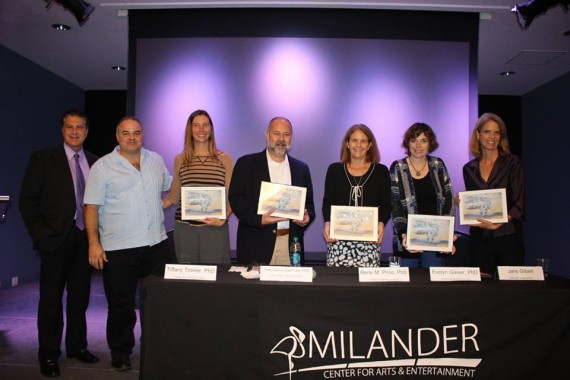 CLIMA Panel Speakers receive recognition from City of Hialeah Major Carlos Hernandez and Xavier Cortada. From left to right Major Hernandez, Cortada, Tiffany Troxler, Juan Carlos Espinosa, Rene Price, Evelyn Gaiser, and Jane Gilbert