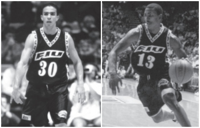 Carlos Arroyo (left) and Raja Bell, who went on to have successful NBA careers, helped FIU topple the Michigan Wolverines in front of a record crowd at FIU Arena on Nov. 13, 1998.