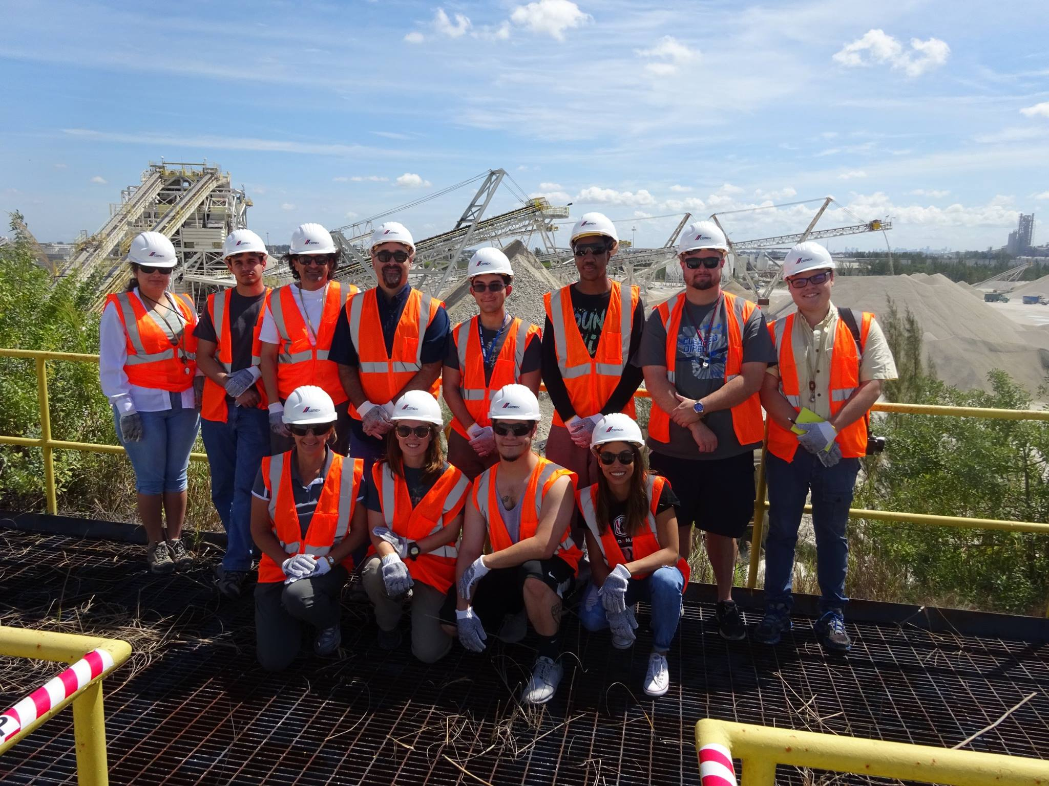 Students in FIU's field excursion course visit Camex, a building materials company, in the Florida Keys to observe a limestone blast.
