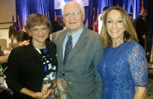 College of Education Dean Delia C. Garcia (left) and former Miami Herald Publisher David Lawrence (center) are recipients of the 2015 Outstanding Educator Awards. Miami-Dade County Public School Board Member Susie V. Castillo (right) nominated Garcia for the award.