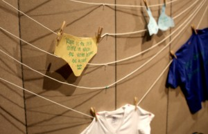 The Clothesline Project is a visual display that bears witness to the violence against women. Participants were invited to create their own shirt or piece of clothing to reflect their personal experience or those of a friend or loved one.