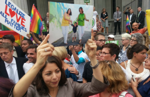 Cathy Pareto, one of the plaintiffs in the marriage equality case in Florida, stands in the crowd outside of the July 2 hearing that took place before Judge Sarah Zabel in the Eleventh Judicial Circuit Court in Miami.