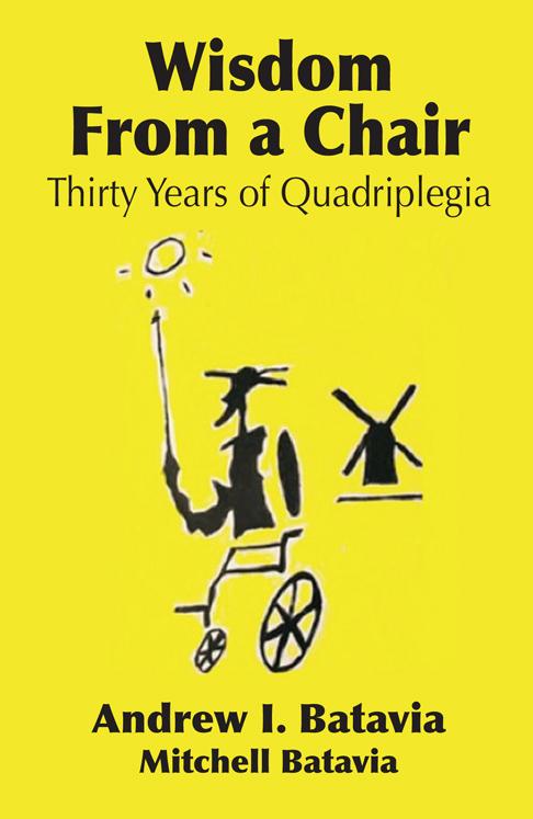 The cover of Drew Batavia's memoir features a hand-drawn Don Quixote de la Mancha in a wheelchair, drawn by Mitchell Batavia