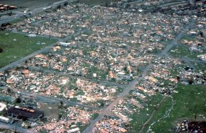 DAFX5X Aerial view of hundreds of homes destroyed by Hurricane Andrew August 24, 1992 in Dade County, FL.