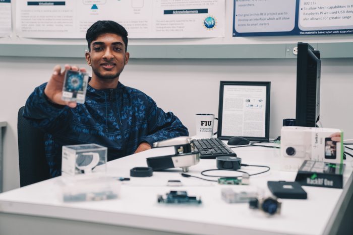 Anurag Akkiraju, a recent high school graduate, interning at FIU's Cyber-Physical Systems Security Lab.