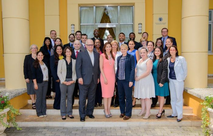 The first cohort of the Presidential Leadership Program met with President Mark B. Rosenberg at the opening reception July 6.