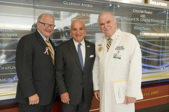 Left to Right: FIU President Mark B. Rosenberg; Carlos A. Migoya, president and CEO, Jackson Health System; Dr. John A. Rock, HWCOM founding dean and senior vice president for health affairs