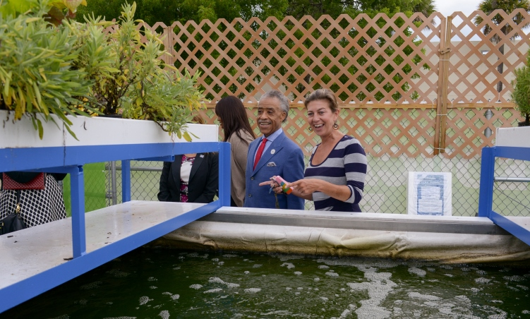 Rev. Al Sharpton tours the aquaponics lab and organic garden at Miami Northwestern Senior High School in Liberty City with Maria Lovett, partnership director for The Education Effect.