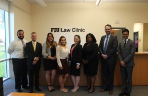 From left to right: Attorney Karim Batista, FIU Law students: Anthony Monico; Claudia Cobreiro; Alexis Gonzalez; Krystin Montersil, Senior Associate Dean Michelle Mason, attorney Carlos Gonzalez and FIU Law student Michael Lowe.