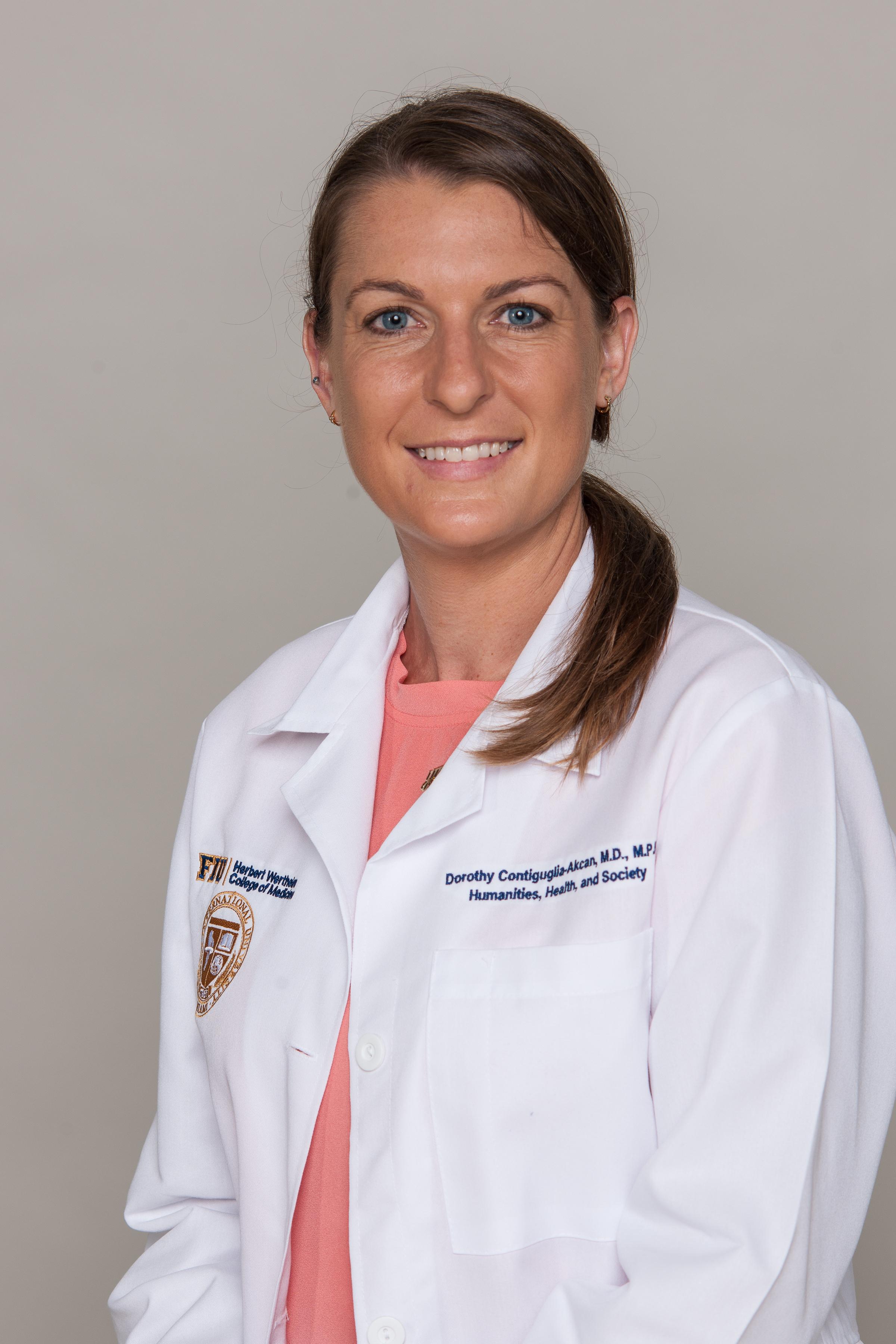 travel medicine doctor Dorothy Contiguglia in white doctor's coat