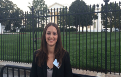 Dr. Angie Laird in front of White House