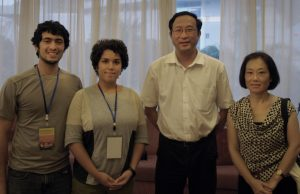 Paul Nunez, Haydee Borrero and Hong Liu of the Earth and Environment department pose with Vice-Governor Chen Zhangliang (second from right) of Guangxi, China.