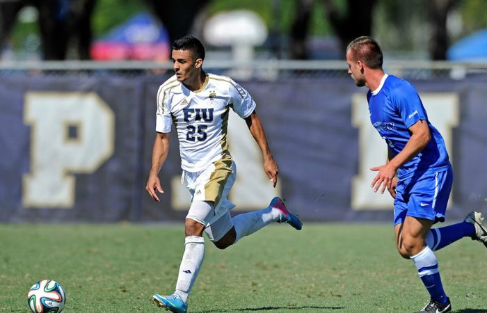 Darren Rios (left) scored two goals to help the Panthers defeat Penn at FIU Soccer Stadium on Sept. 10.